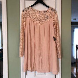F21 Contemporary Long Sleeve Peach Lace Mini Dress